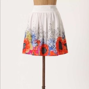 Anthropologie Leifsdottir Poppy 100% Silk Skirt 8